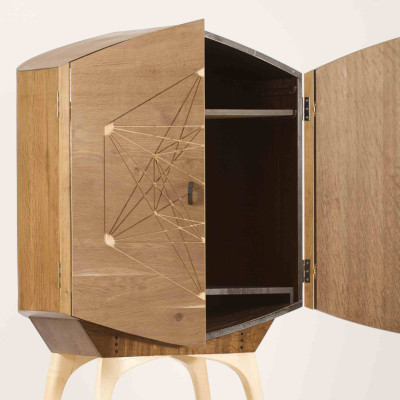 TV Drinks Cabinet Door open - Thomas Foottit Contemporary Carpentry